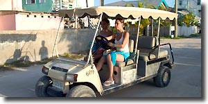 Driving a golf cart around San Pedro, Ambergris Caye